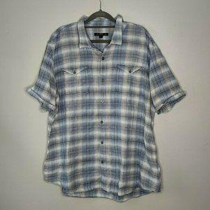 John Varvatoc Cotton Blend Button Down Shirt Plaid